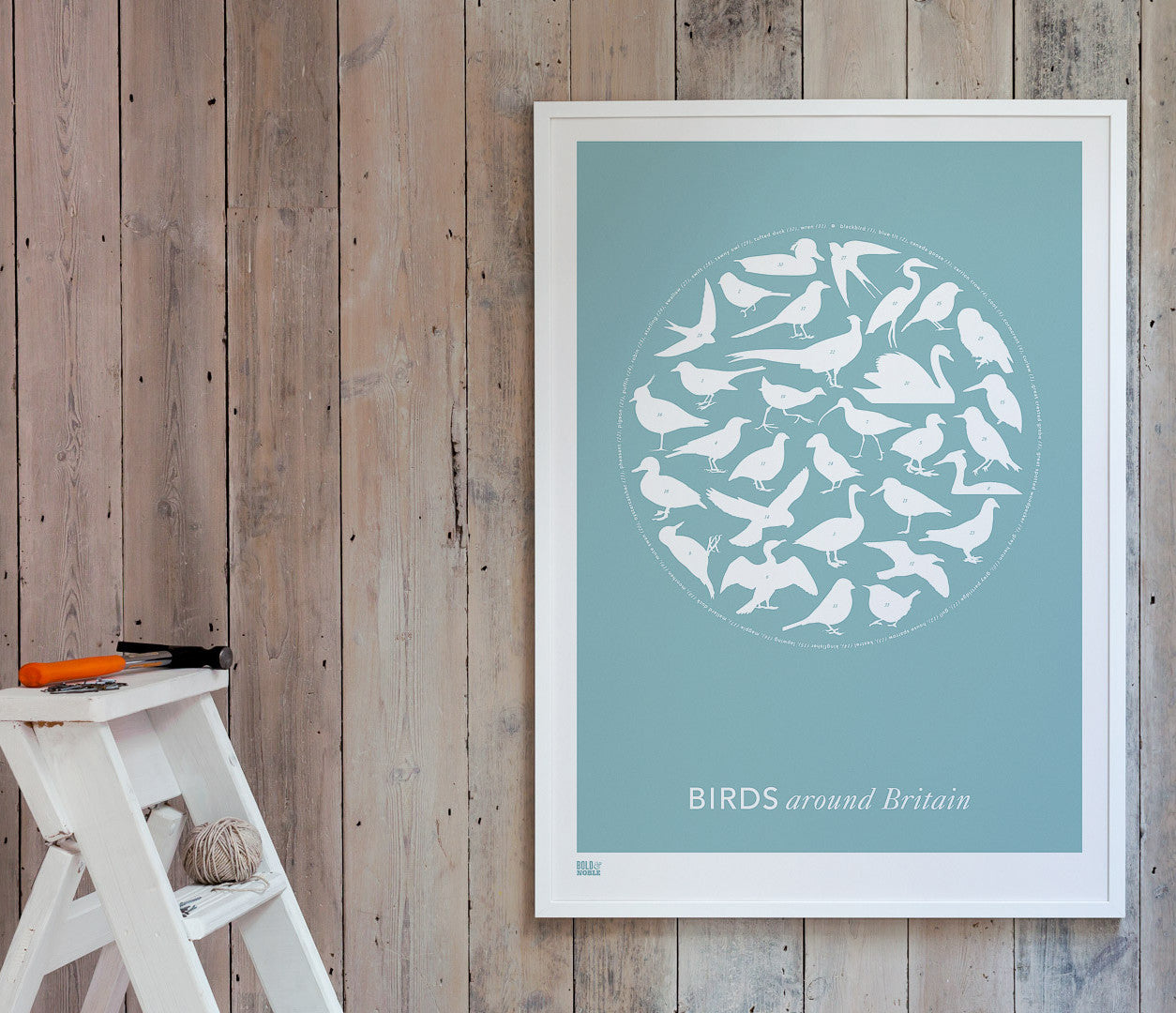 Wall art ideas, economical screen prints, Birds Around Britain in coastal blue