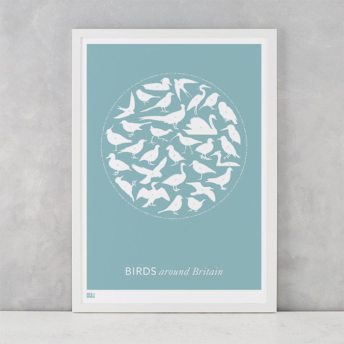 Birds around Britain in coastal blue, screen printed in the UK delivered worldwide