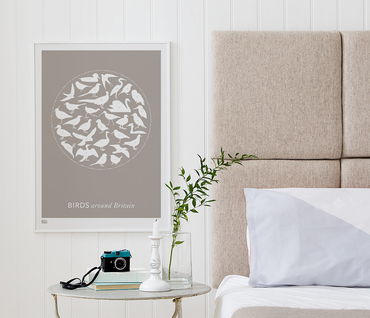 Pictures and wall art, screen printed Birds Around Britain poster in warm grey