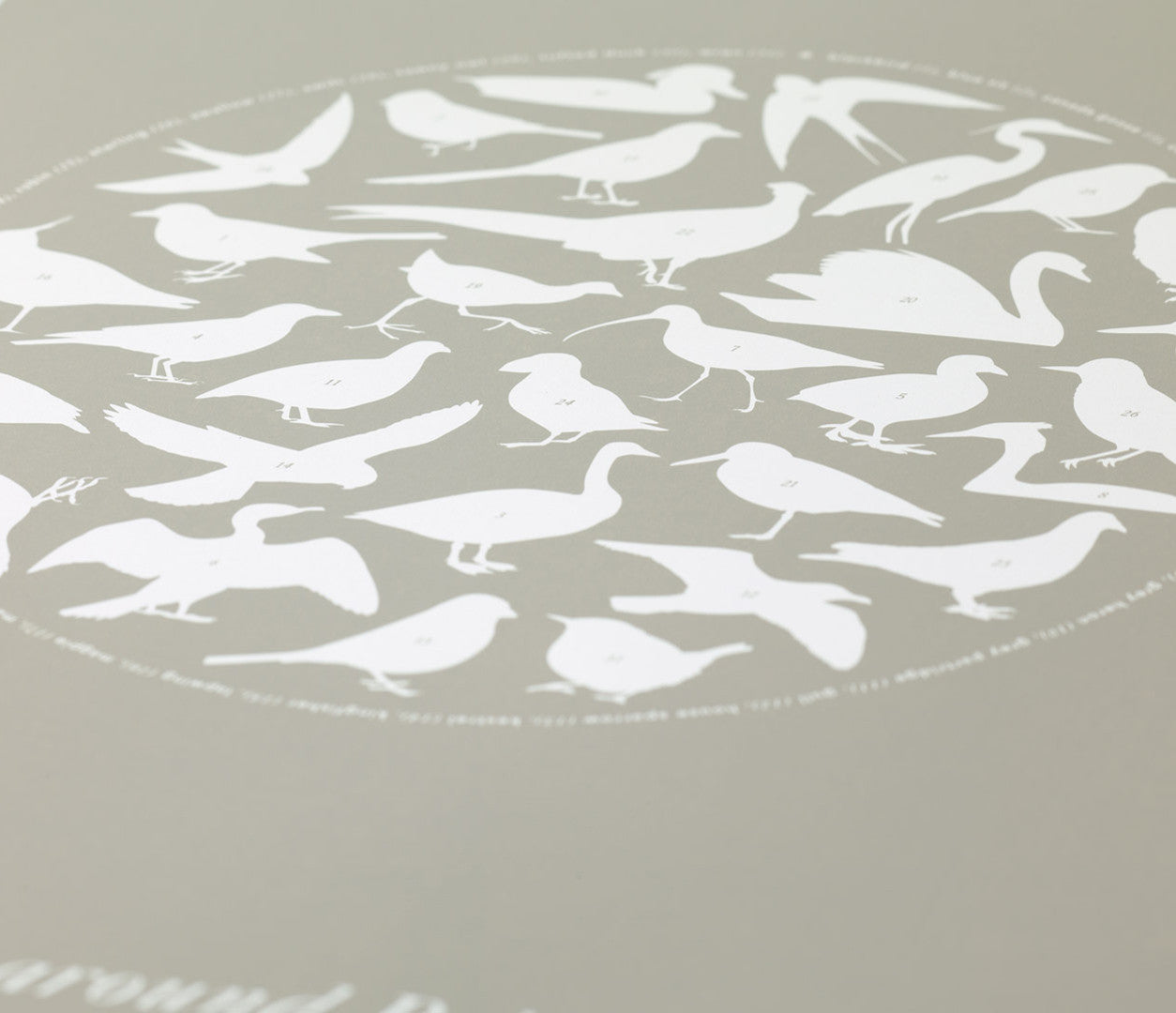 'Birds Around Britain' Art Print in Warm Stone