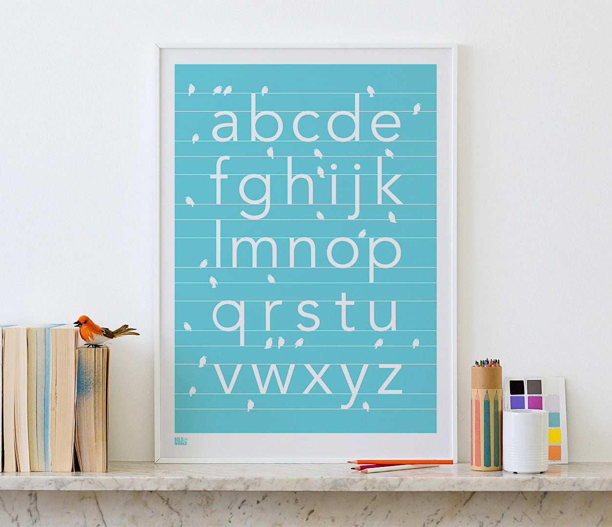 'Birds A-Z' Alphabet Art Print in Azure Blue