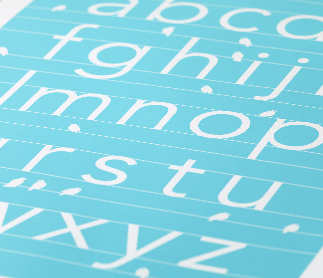 Close up of A-Z alphabet screen print in azure blue, economical kids wall art ideas