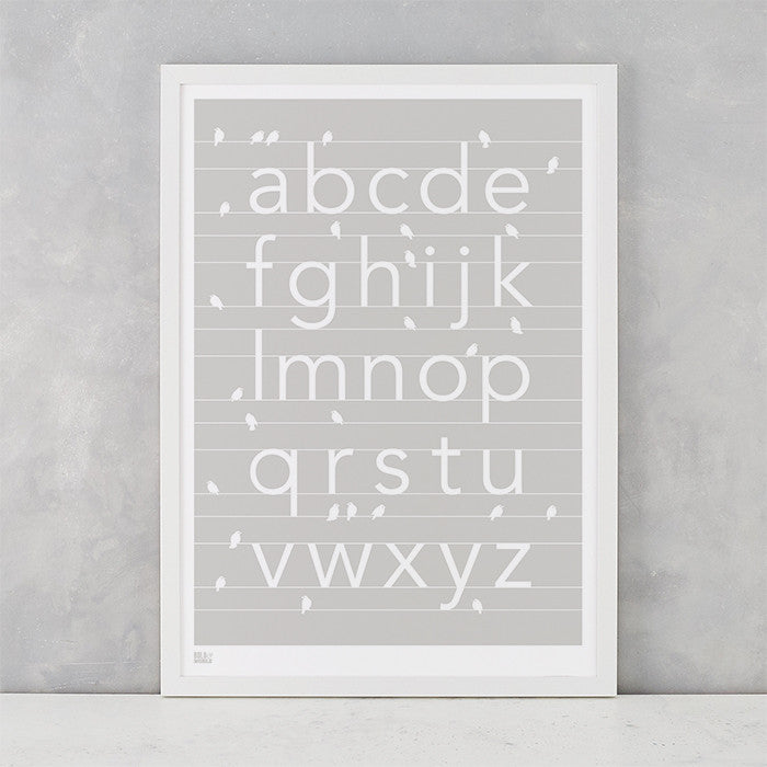 A-Z kids alphabet artwork with birds, screen printed in the UK delivered worldwide