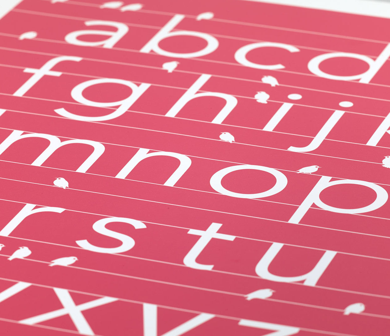 Close up of A-Z alphabet screen print in raspberry pink, economical kids wall art ideas