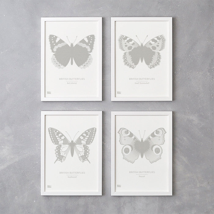 Set of four British Butterflies Art Prints, Screen Printed in the UK, deliver worldwide