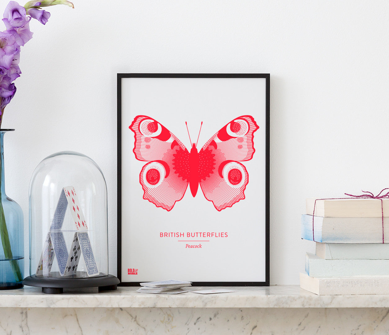 British Butterflies 'Peacock' Print in Neon Red