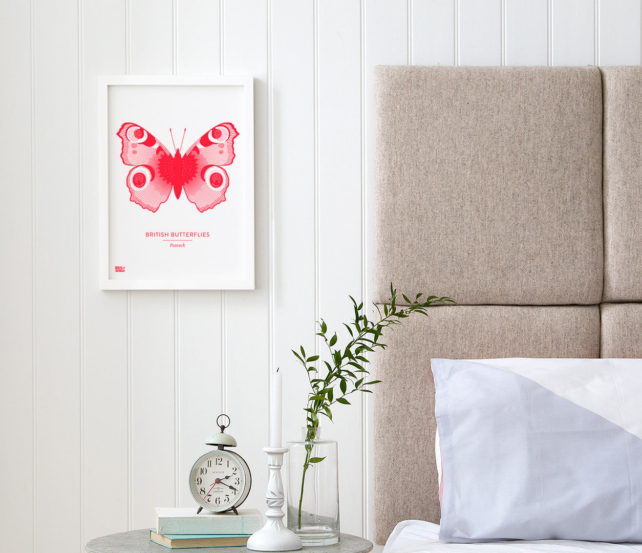 Butterflies Art Print in Neon Pink, Modern Print Designs for the Home