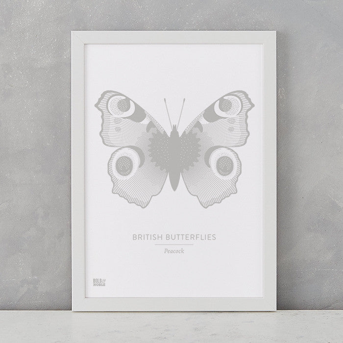 British Butterflies 'Peacock' Print in Putty Grey