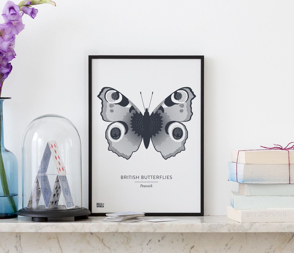 Butterflies Art Print in Slate Dark Grey, Modern Print Designs for the Home