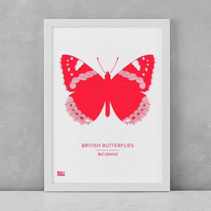 British Butterflies 'Red Admiral' Print in Neon Red