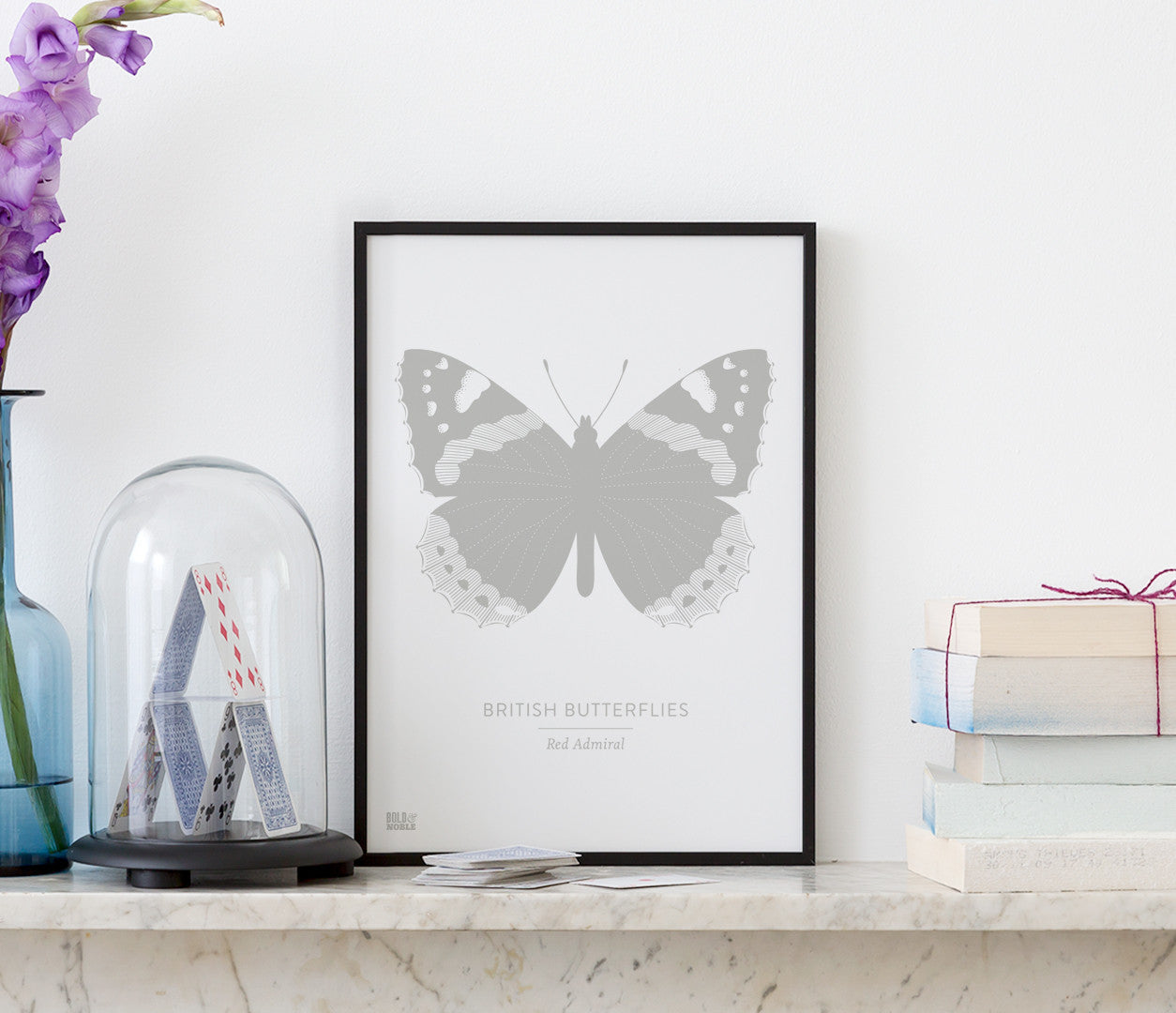 British Butterflies 'Red Admiral' Print in Putty Grey
