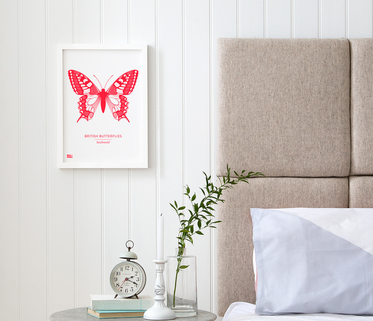 British Butterflies 'Swallowtail' Print in Neon Red