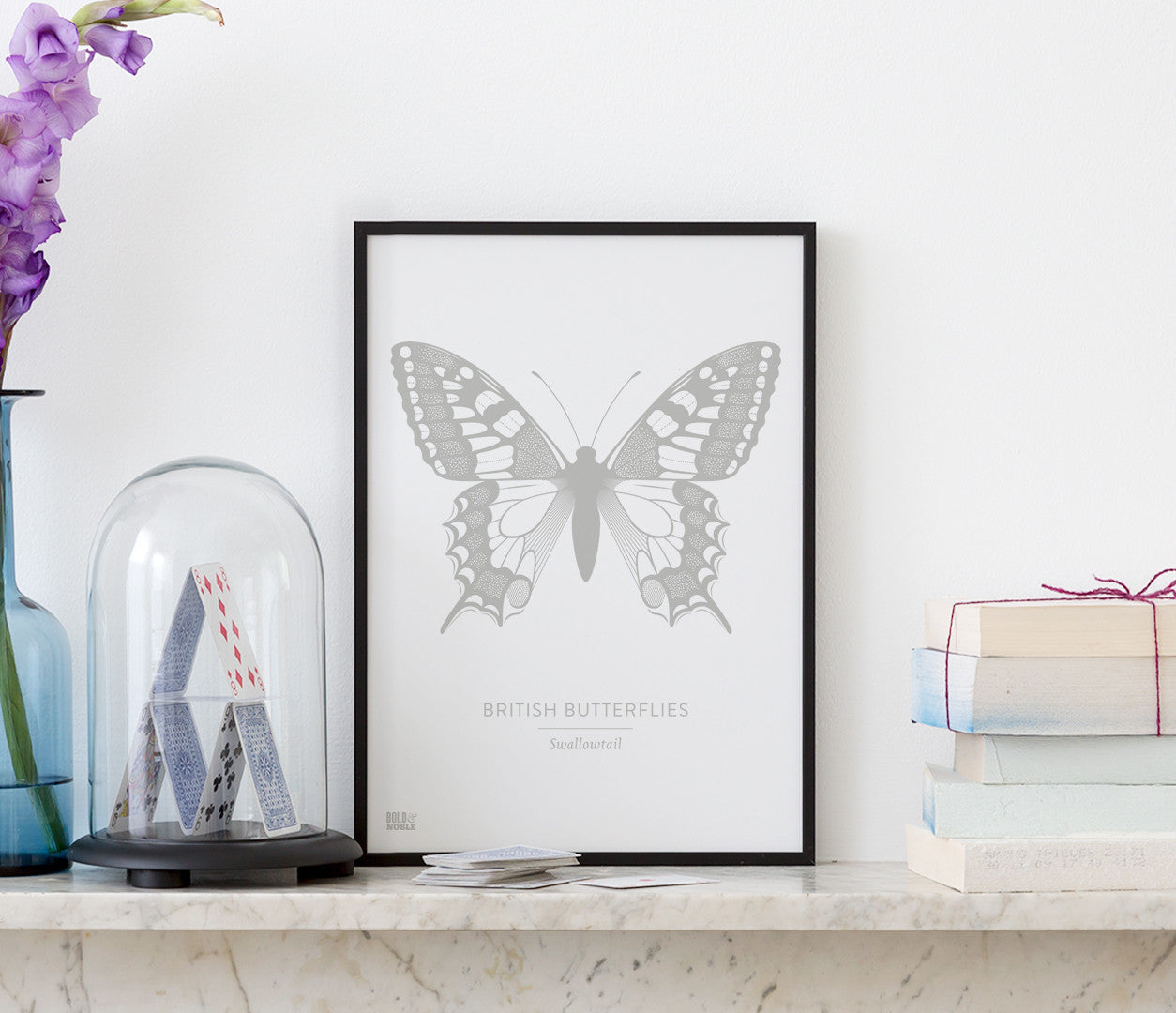British Butterflies Wall Art Print in Grey, Lovely Print Designs for the Home