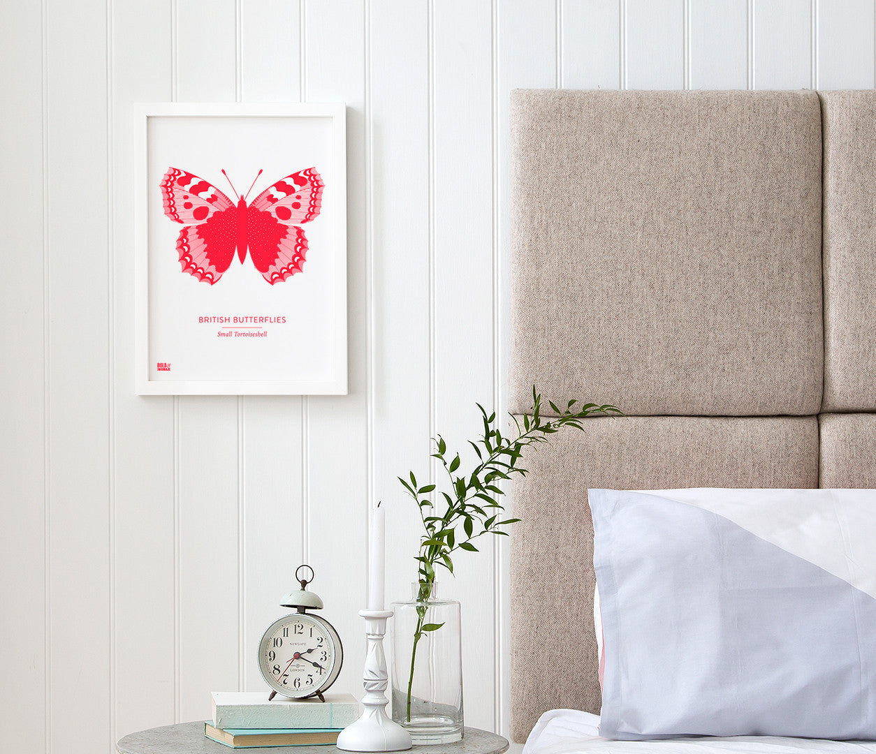 British Butterflies 'Small Tortoiseshell' Print in Neon Red