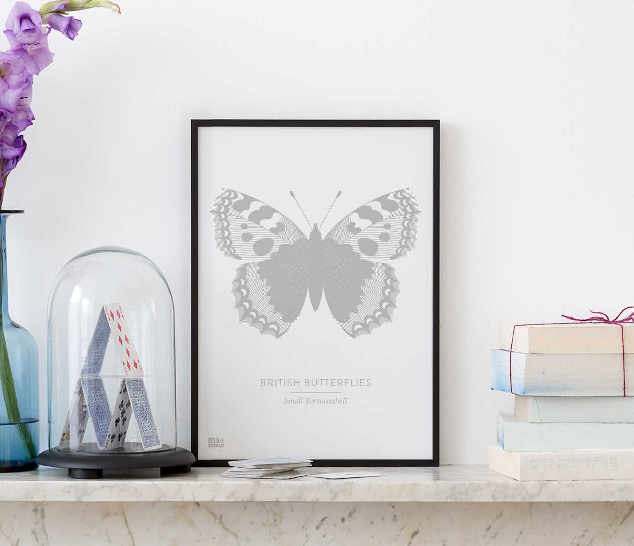 Butterflies Art Print in Putty Grey, Modern Print Designs for the Home