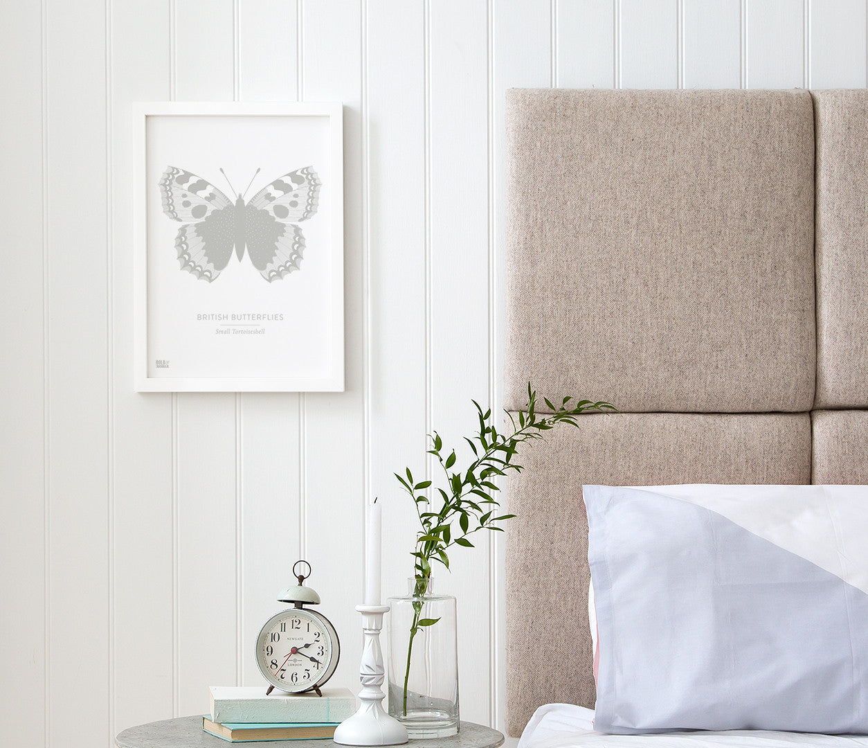 British Butterflies 'Small Tortoiseshell' Print in Putty Grey