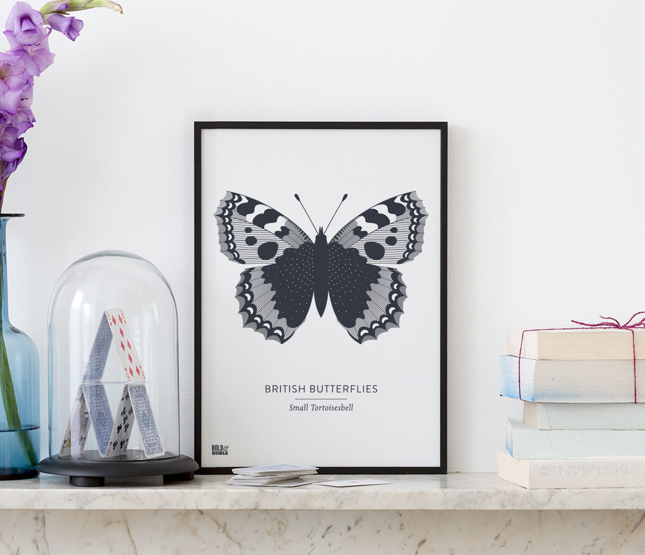 British Butterflies Art Print in Dark Slate Grey, Modern Print Designs for the Home