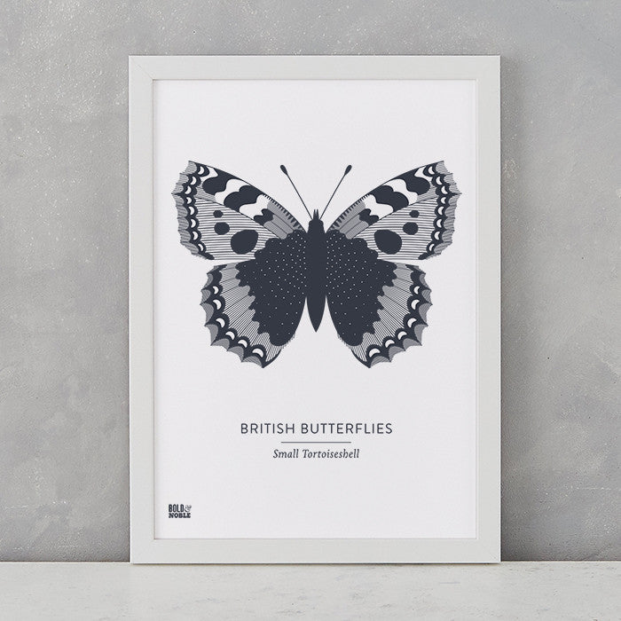 British Butterflies 'Small Tortoiseshell' Print in Sheer Slate