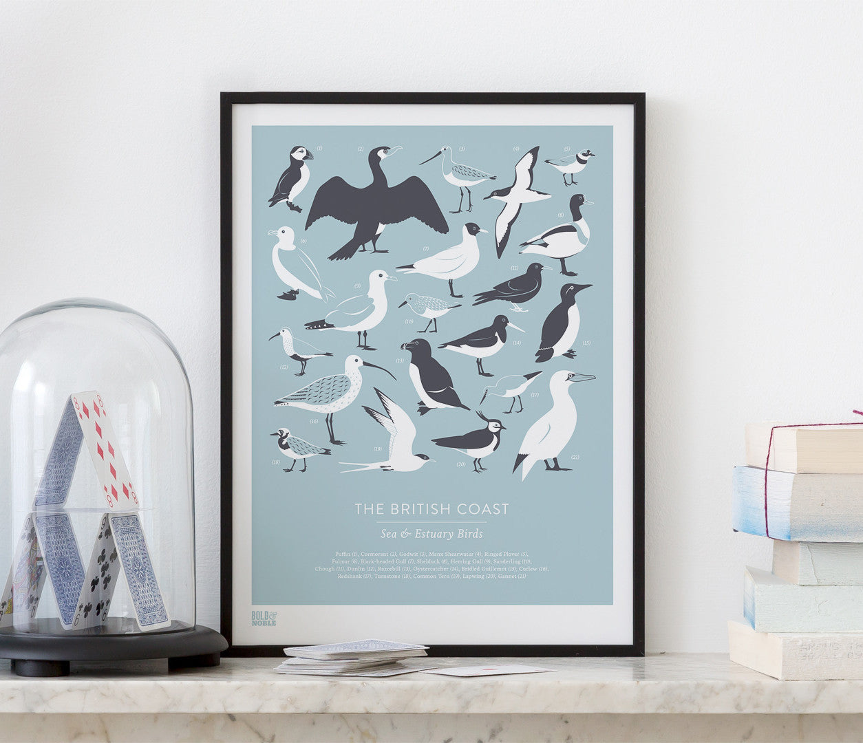 Pictures and wall art, screen printed British Birds poster in duck egg blue