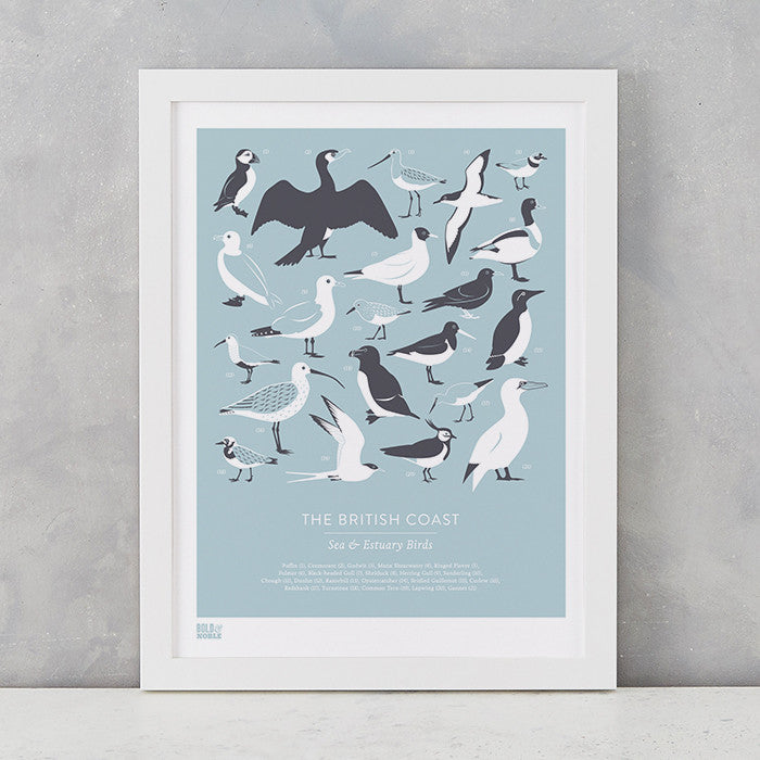 British Coast Birds screen print in duck egg blue, recycled card, delivered worldwide