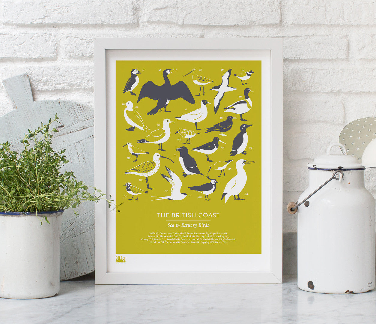 Pictures and wall art, screen printed British Coastal Birds poster in grey and yellow