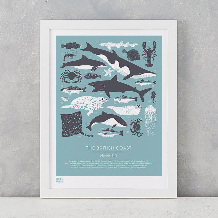 British Coast Marine Animals screen print in coastal blue, recycled card, delivered worldwide