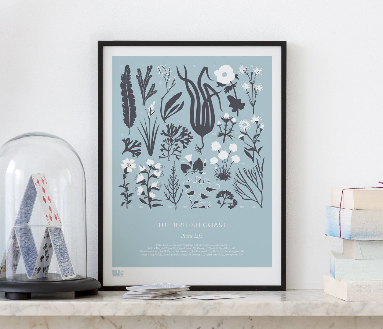Wall art ideas, economical screen prints, British Coastal Plant Life print in duck egg blue