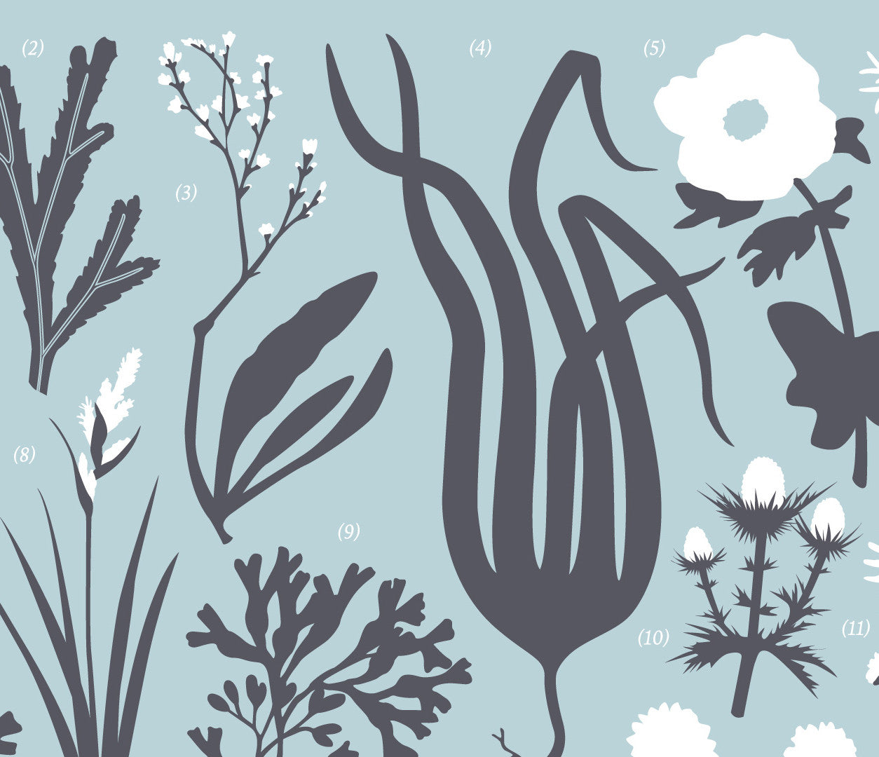 Close up of British Coastal Plant Life Screen Print in duck egg blue