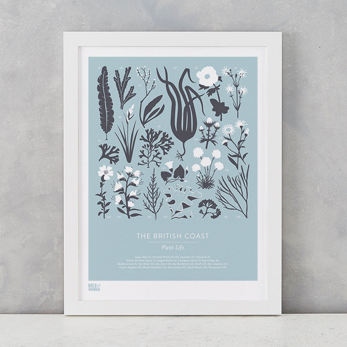 British Coast Plants screen print in duck egg blue, recycled card, delivered worldwide