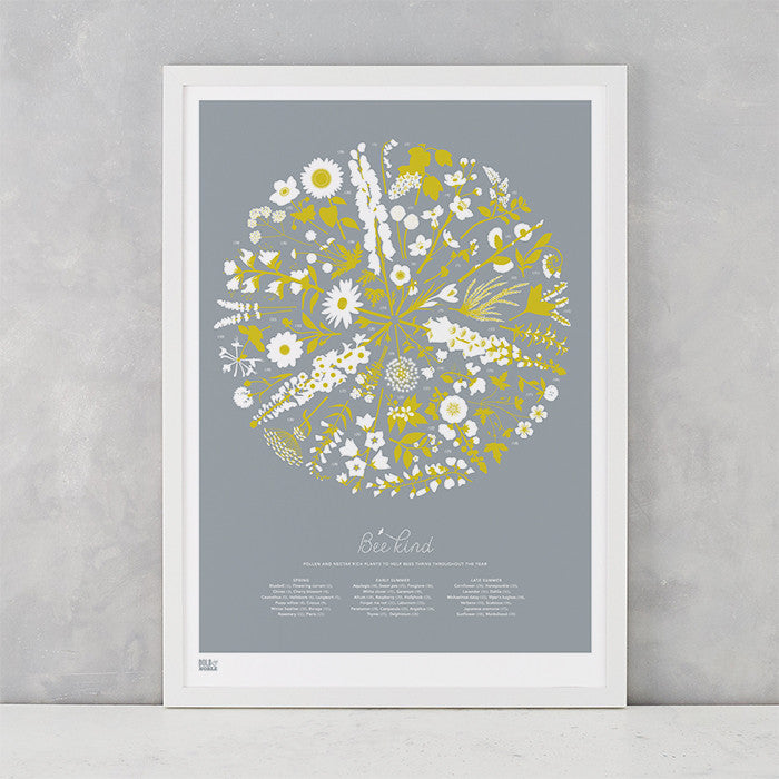 'Bee Kind' Art Print in Warm Grey/Yellow Moss