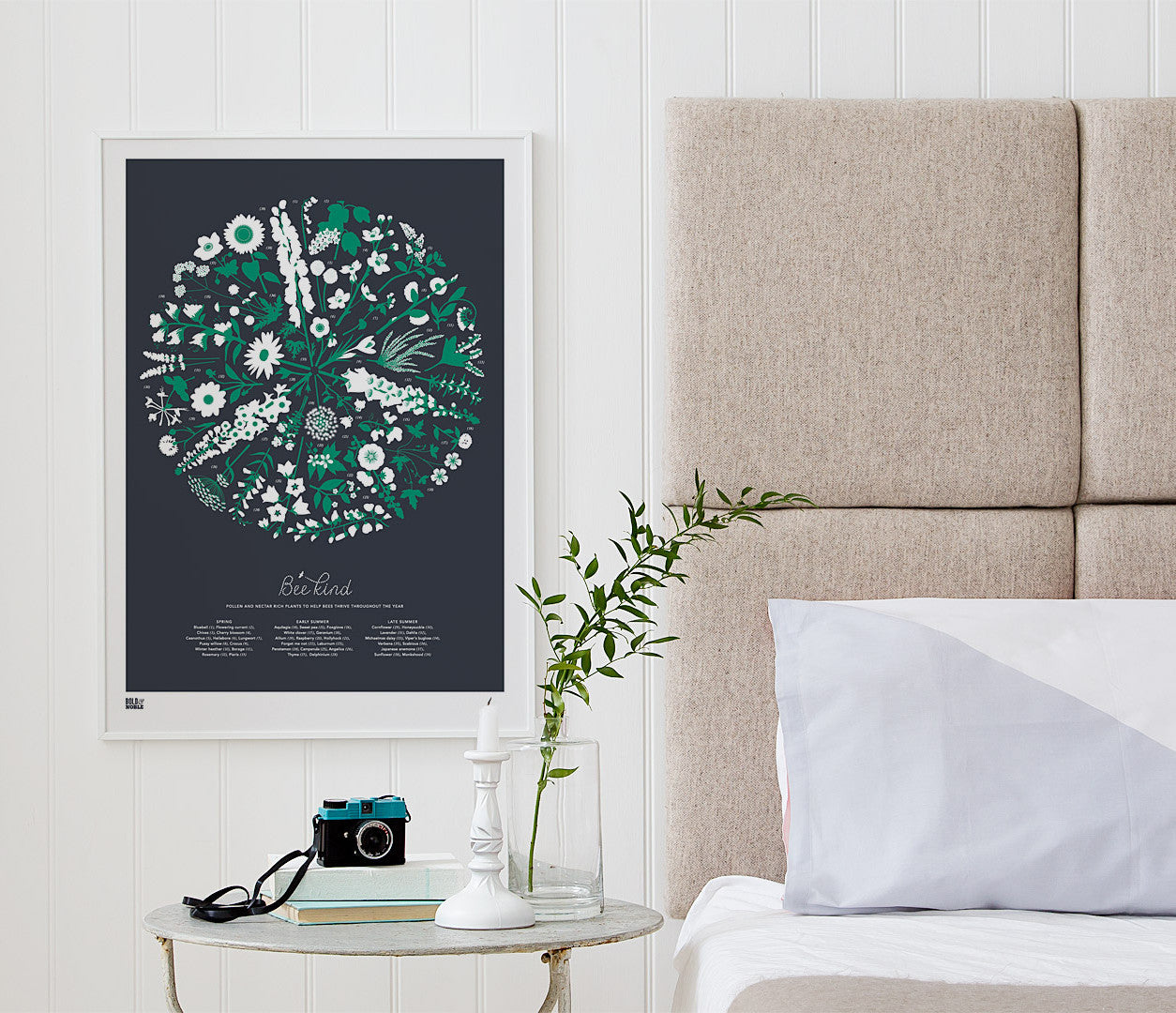 Pictures and wall art, screen printed Bee Kind floral poster in slate