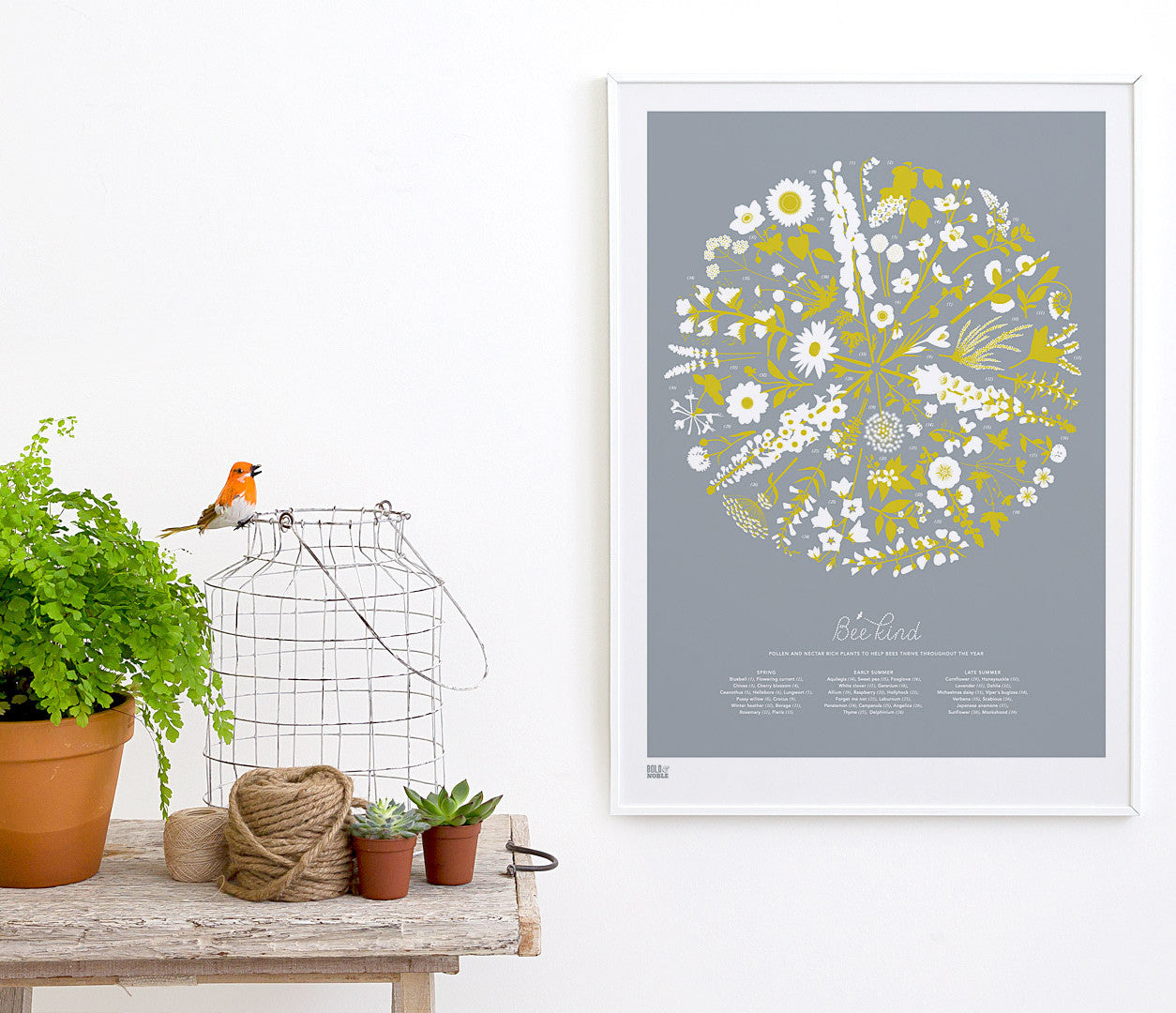 Pictures and wall art, screen printed Bee Kind floral poster in grey and yellow