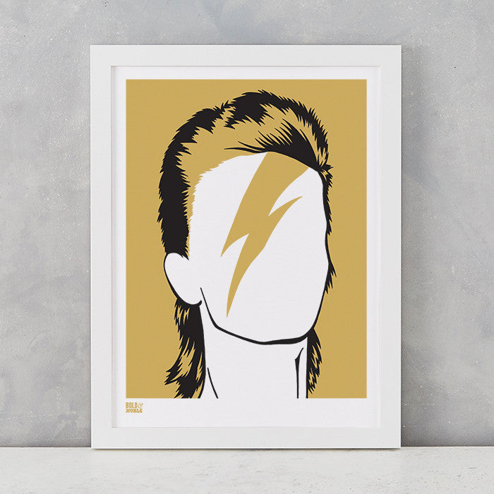 David Bowie in Bronze, screen printed onto recycled card, delivered worldwide