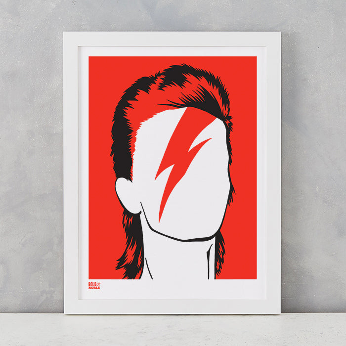 David Bowie in Dark Orange, screen printed onto recycled card, delivered worldwide