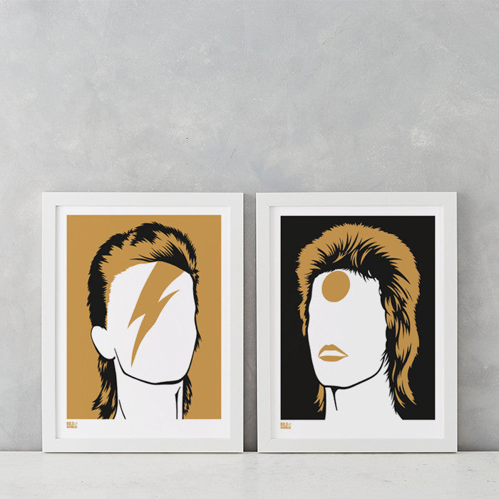 David Bowie Rock Icon Print Designs, Screen Printed in the UK, deliver worldwide