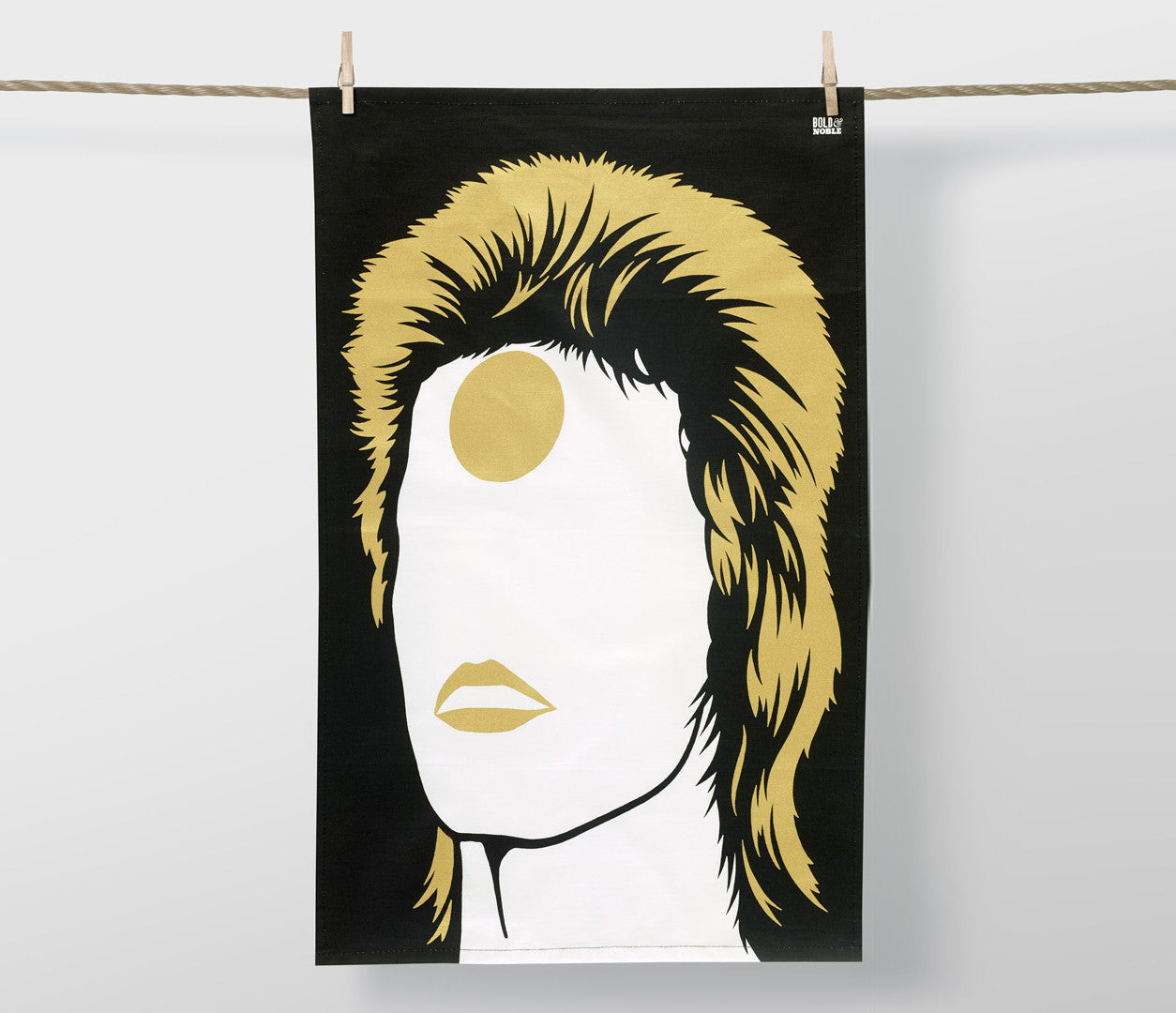 Rock Icons David Bowie Ziggy Stardust Tea Towel in Bronze, screen printed in the UK