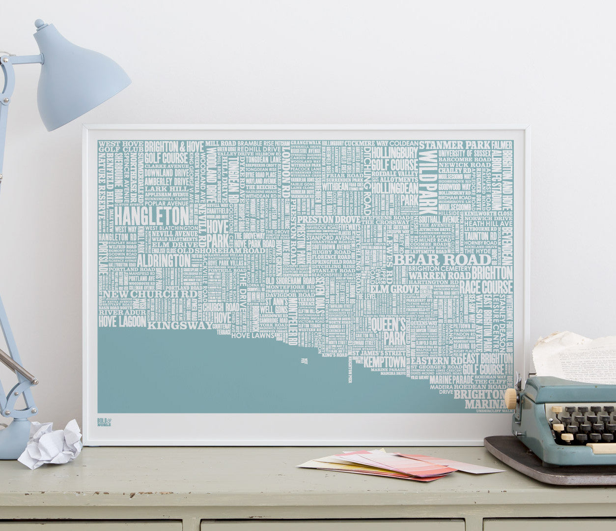 Wordle Brighton Map Wall Art Print, Screen Printed in coastal blue