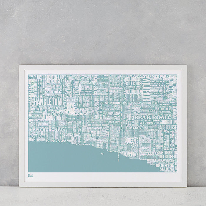 Brighton type map screen print in coastal blue, printed on recycled card, delivered worldwide
