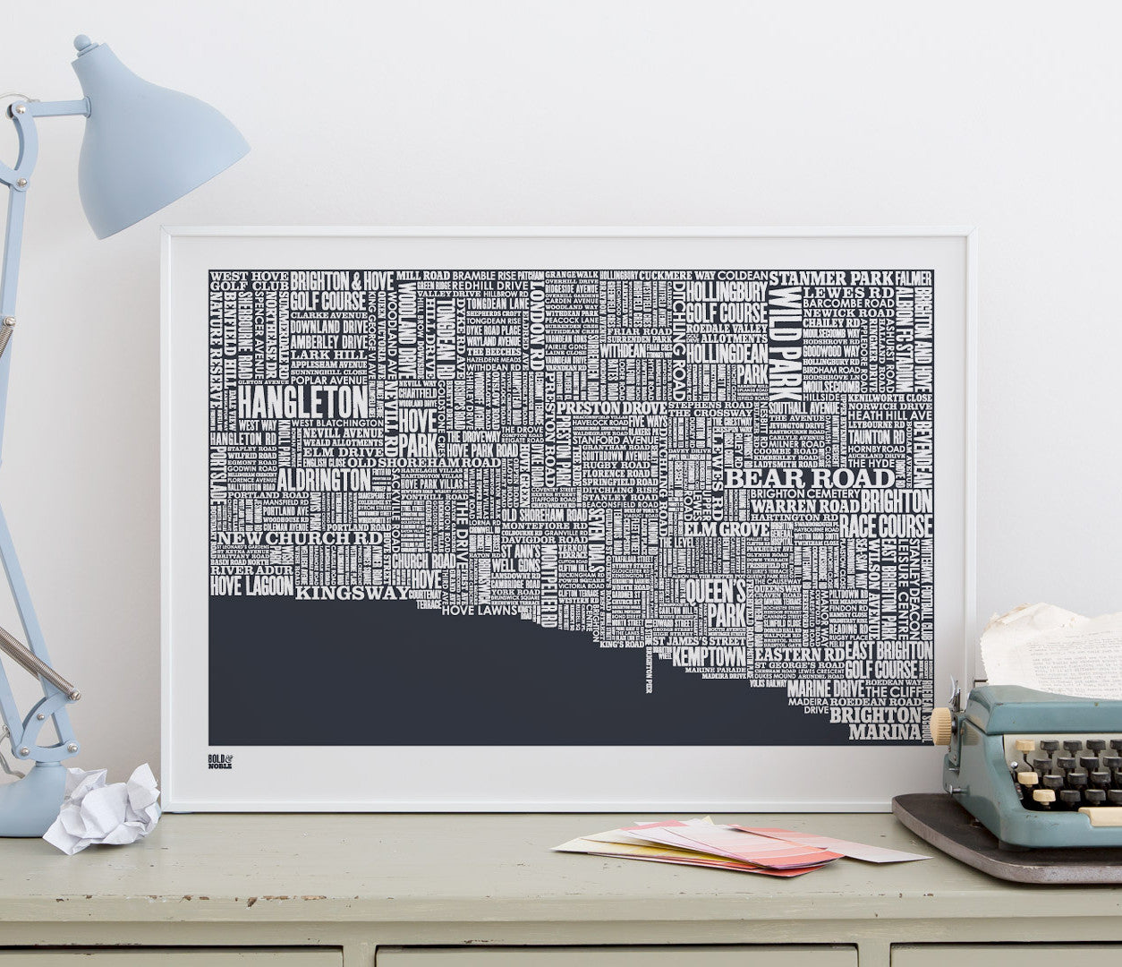 Wordle Brighton Map Wall Art Print, Screen Printed in sheer slate