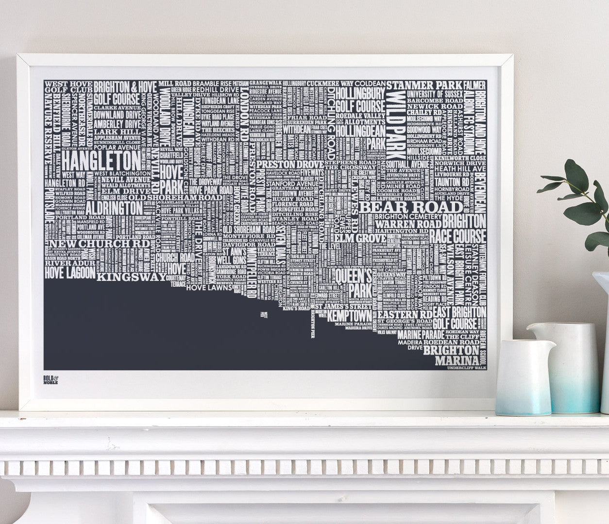 Wall art ideas, economical screen prints, Brighton type map in sheer slate