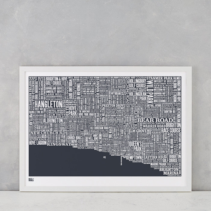 Brighton type map screen print in sheer slate, printed on recycled card, delivered worldwide