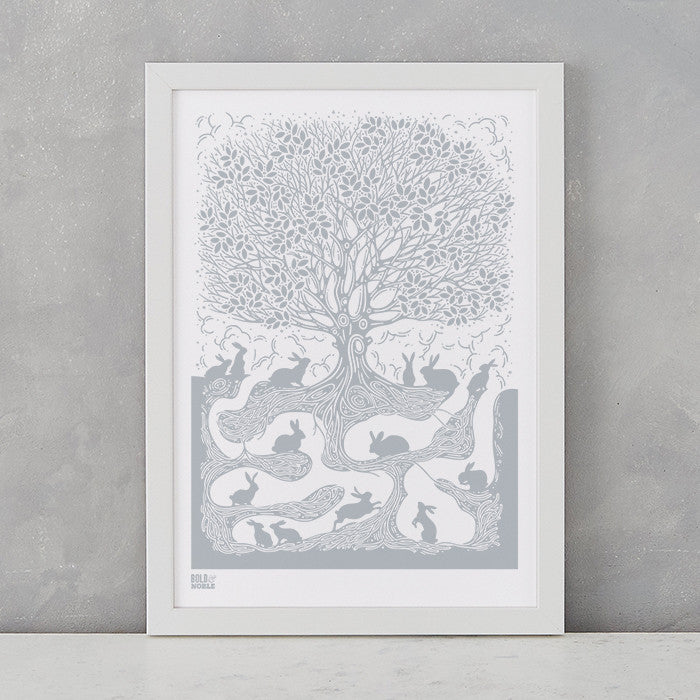 Burrow Rabbit A4 screen printed artwork in warm grey, delivered worldwide