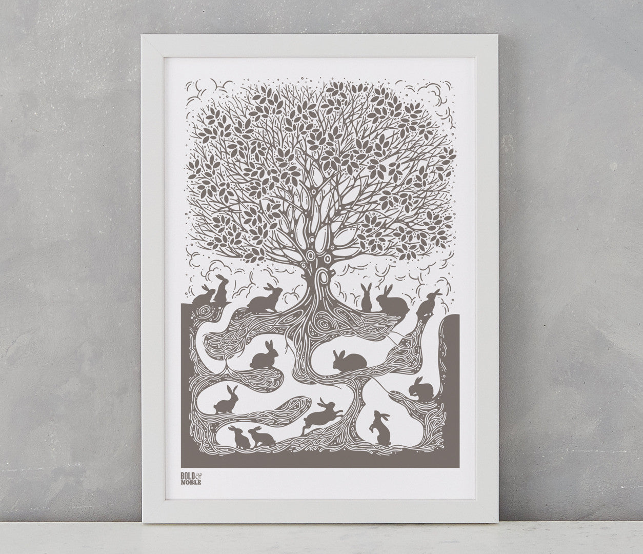 Pictures and Wall Art, Screen printed Burrow Print in mouse grey