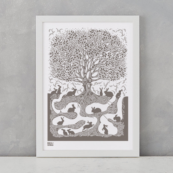 'Burrow' Rabbit Art Print in Mouse Grey