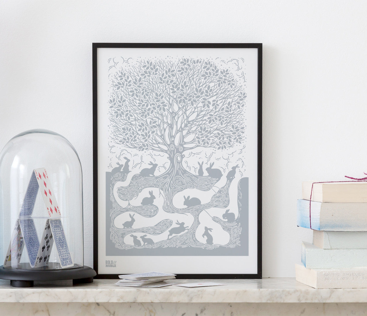 Pictures and wall art, screen printed Burrow poster in warm grey