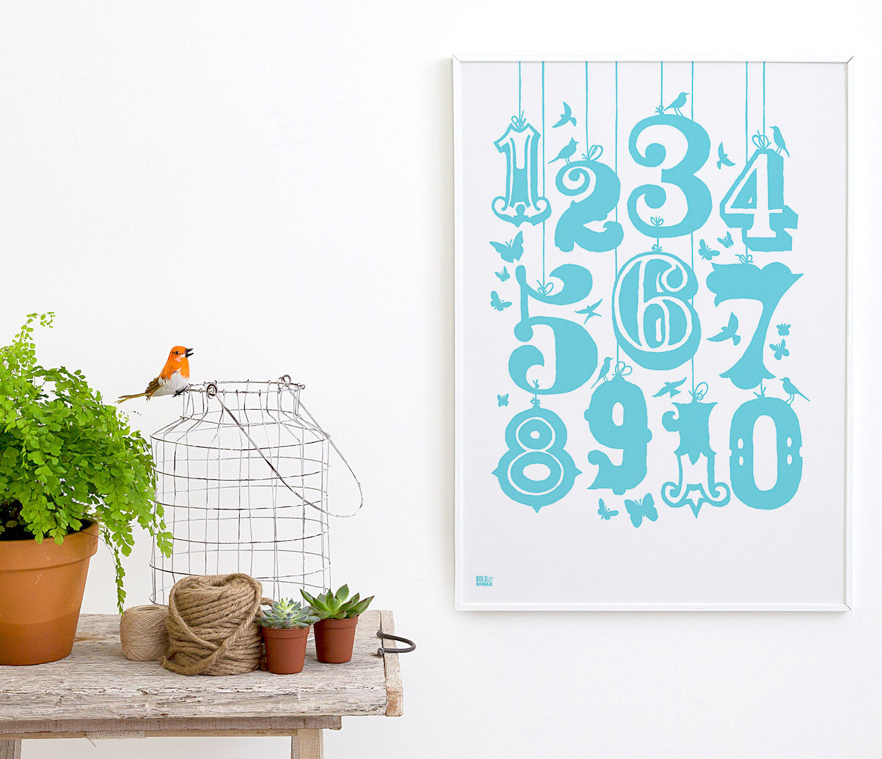 Pictures and wall art, screen printed 1-10 Kids poster in azure blue