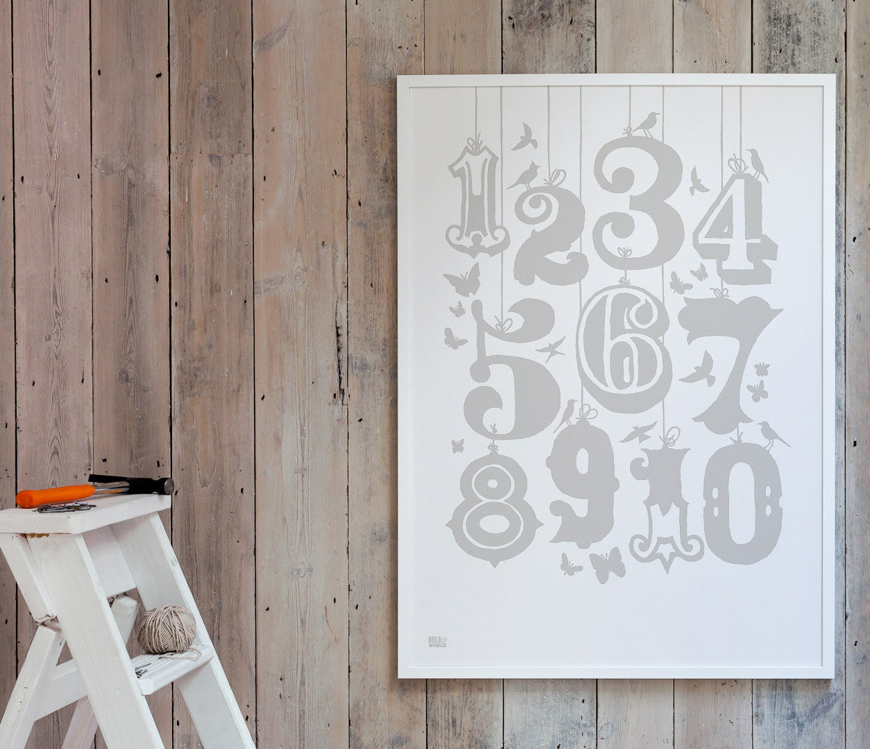 Wall art ideas, economical screen prints, Count 1-10 kids print in chalk grey
