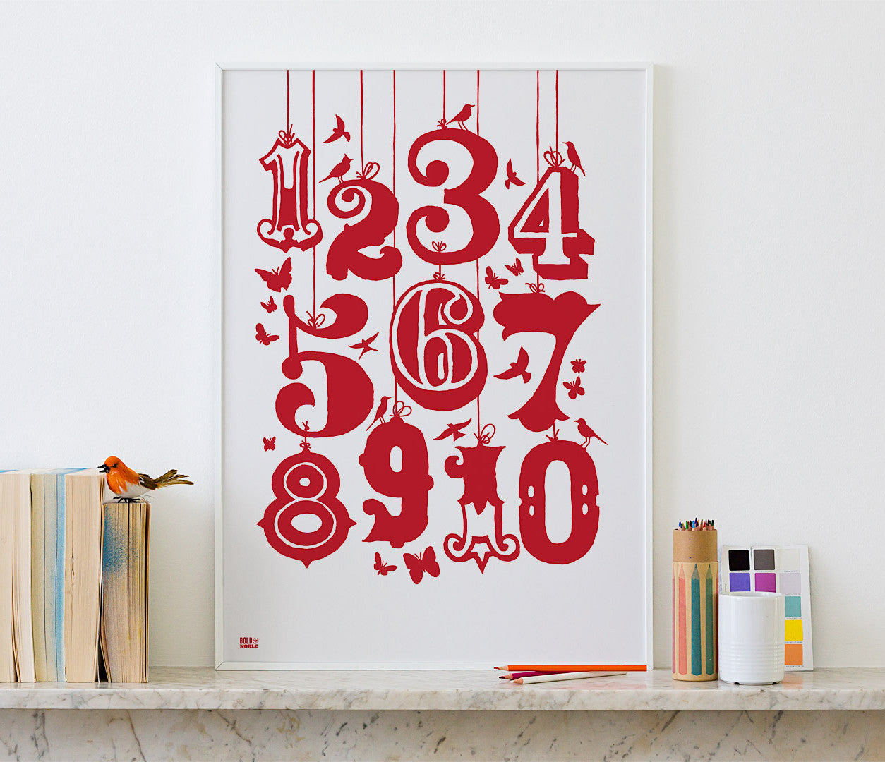 Pictures and wall art, screen printed 1-10 Kids poster in poppy red