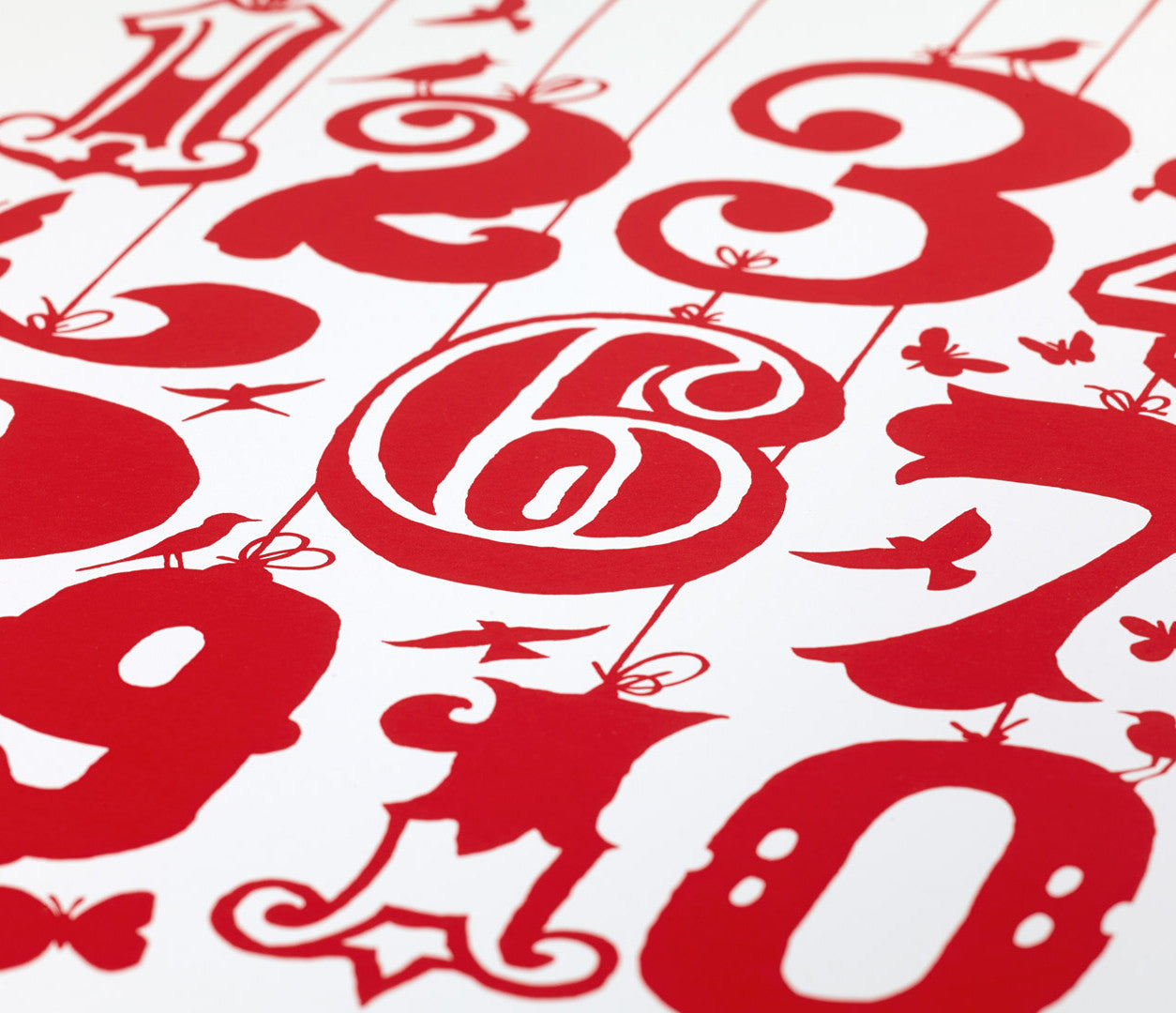 Close up of Count 1-10 screen print in poppy red, economical kids wall art ideas