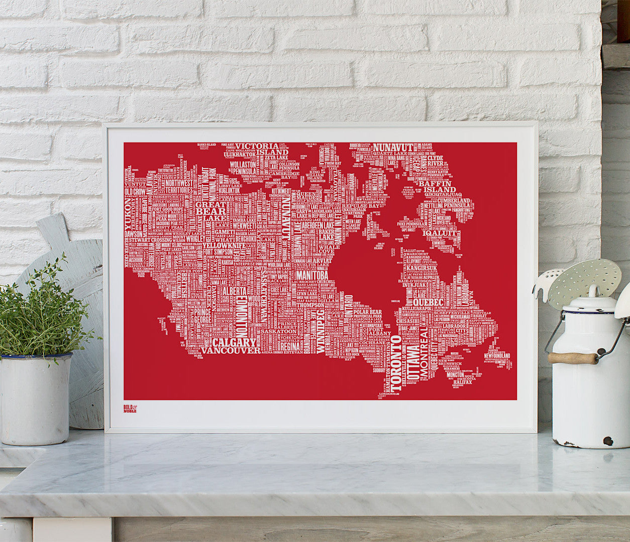 Pictures and Wall Art, Screen printed Canada Type Map print in poppy red